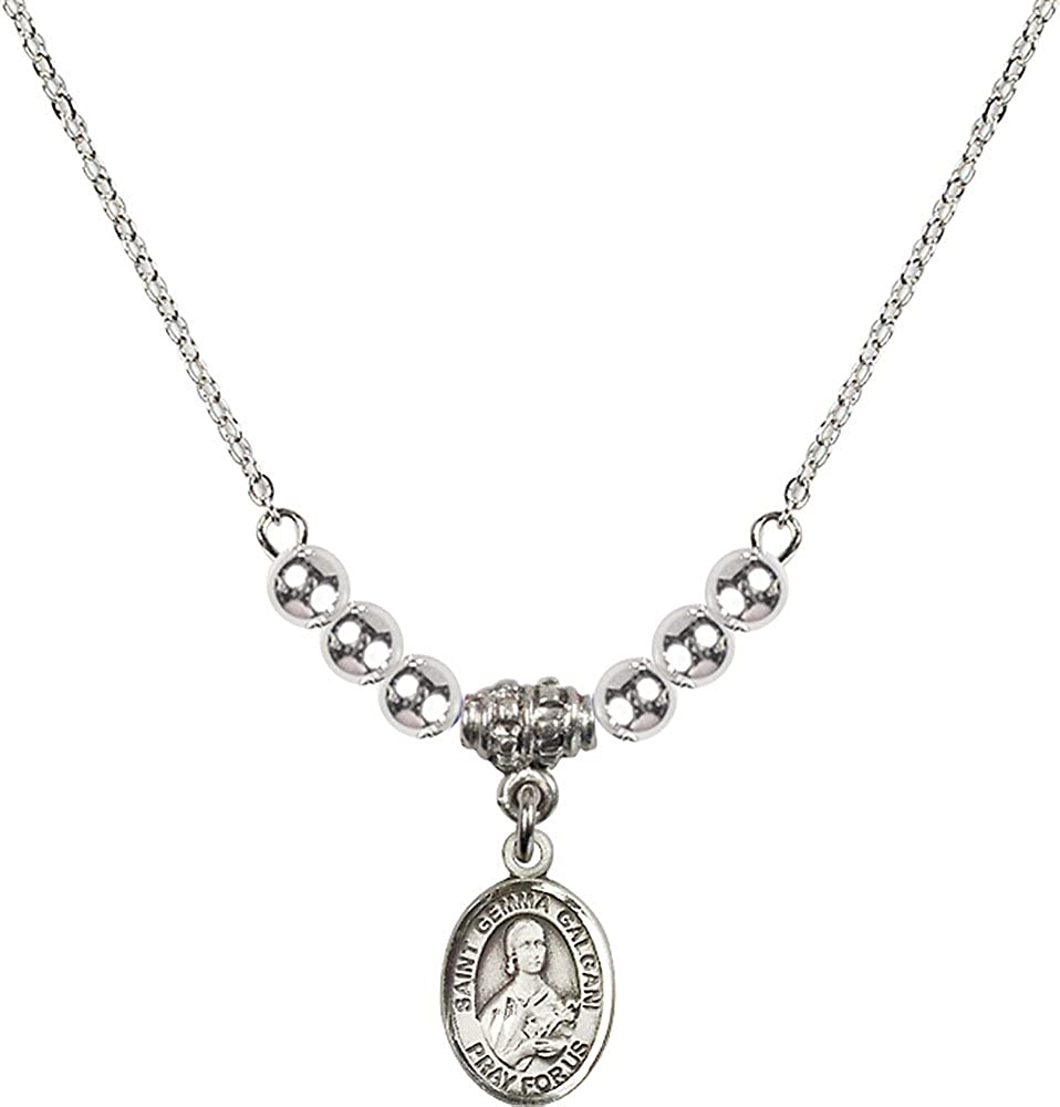 18-Inch Rhodium Plated Necklace with 4mm Sterling Silver Beads and Sterling Silver Saint Gemma Galgani Charm.
