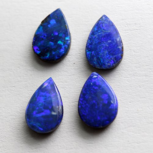 - 1 Piece 6x9mm Pear Natural Australian Boulder Opal Doublet Cabochon Calibrated Loose Gemstone Top Quality