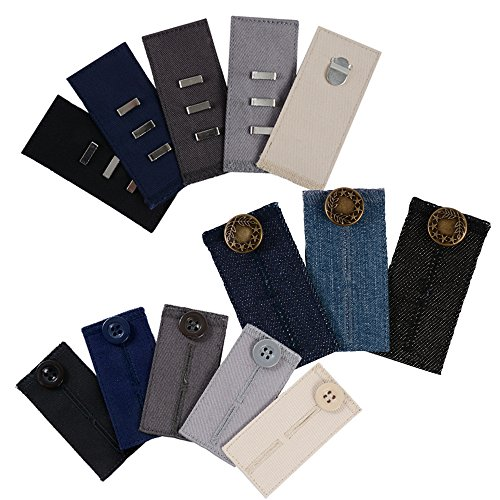 Comfy Pants Bundle - 13 Pant Waist Extenders (3 Types) for Dress Pants, Khakis and Jeans by Comfy Clothiers
