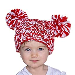 Huggalugs Red & White Pom Pom Joy Beanie Hat Medium (6-24m)