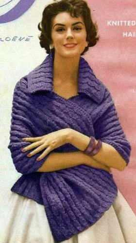 (THE ADAGIO KNITTED SHAWL / STOLE - A Vintage 1950's Knitting Pattern)