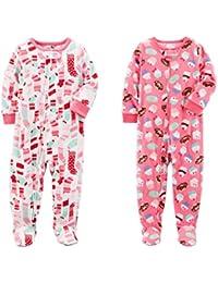 Carter's Baby Toddler Girl's 2 Pack Fleece Footed Pajama Sleep and Play Set