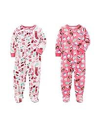 Carter's Baby Toddler Girl's 2 Pack Fleece Footed Pajama Sleep Play Set