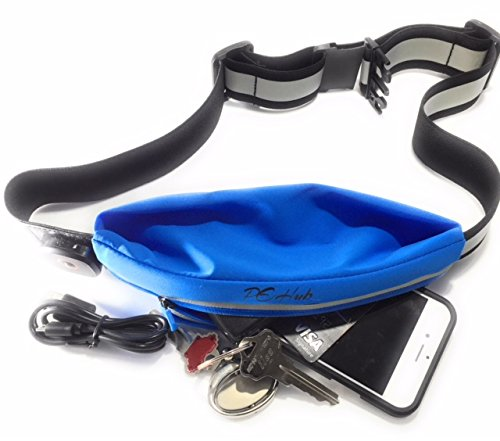 LED Reflective Running Waist Belt Pouch Fanny Pack – 3 Mode-Light Pouch w/USB Recharge – Highly Reflective Strips ON…