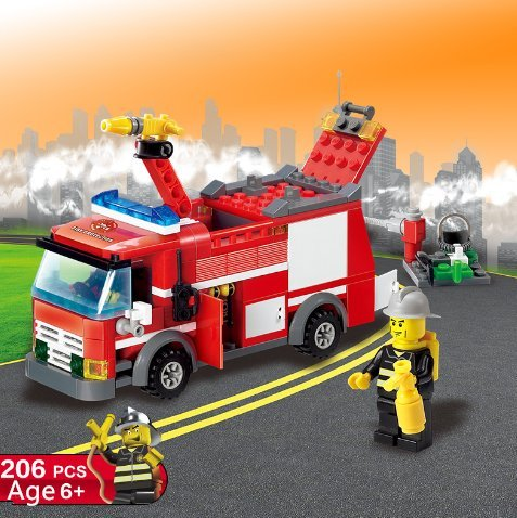 URToys 206Pcs/Set City Fire Station Fire Engines Vehicle Model Building Blocks City Fireman Figures Toys Educational Toy For Boys Birthday Christmas Gift