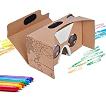 "Google Cardboard V2 Virtual Reality Headset By CardboardKid - Kids Friendly, Fun 3D Viewer, Exciting and Educational, Recommended Apps, Compatible with All iPhone and Android Smartphones (Max 6"")"