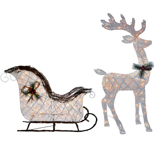 Knlstore 2pc Pvc Vine Lighted 52 Reindeer Buck Deer 40 Santa Sleigh Ride Clear Lights