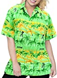 LA LEELA Likre Camp Aloha Beach Top Shirt Parrot Green 63|M - US 36 - 38D