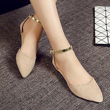Cómodo y elegante soporte de zapatos de las mujeres pisos caída comodidad ante Casual negro Beige Almond