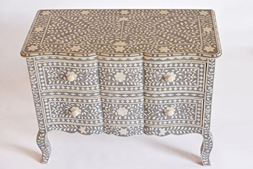 Grey Camel Bone Inlay French Chest Of Drawer