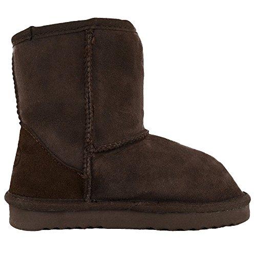 Bushga Kinder Echtes Schaffell Stiefel mit Verstärkte Ferse von (Schwarz, Schokolade Braun, Kastanie, Grau, Pink), Braun - Schokoladenbraun - Größe: 31 EU Kinder