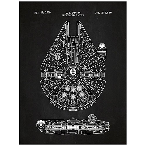 Inked and Screened Sci-Fi & Fantasy Star Wars Millennium Falcon 1979 Design Art Poster Silk Screen Print, Chalkboard, White Ink by Inked and Screened