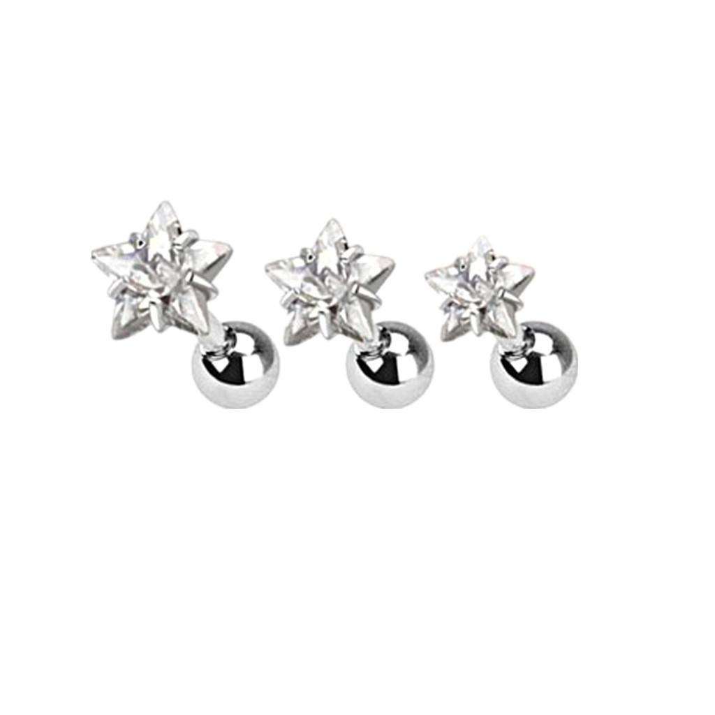 Dovewill 3 Pcs 16g Body jewelry cartilage ear studs Star earring tragus helix barbell for women men