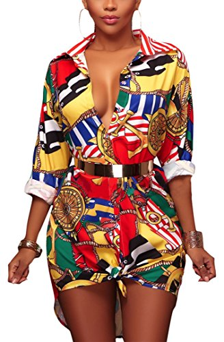 Speedle Women's Lapel Button Down Retro Long Sleeve Blouse Floral Print Party Top Shirt Dress XL