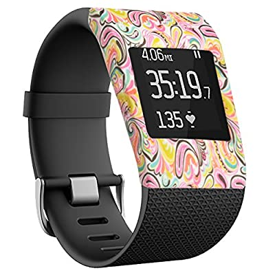 YINUO Silicone replacement Cover cases for Fitbit Surge Fitness Superwatch - Slim Designer Sleeve