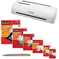Scotch PRO Thermal Laminator, 12.3-Inch, 1-Minute Warm-up, 4-Rollers, Never Jam Technology Bundle with 110 Assorted Pouch Sizes and a Plexon Rollerball Pen