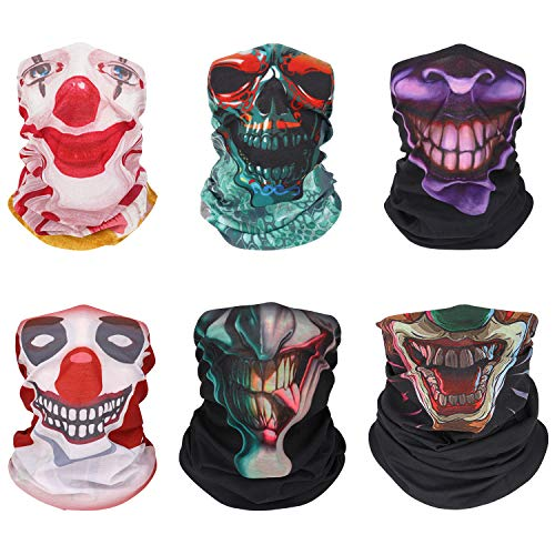 MoKo Halloween Face Mask [6 Pack], UV Protection Seamless Neck Gaiter Shield Scarf Headbands Headwrap Headwear, Windproof Skull Clown Bandana Balaclava for Motorcycle Cycling Riding Skiing Party
