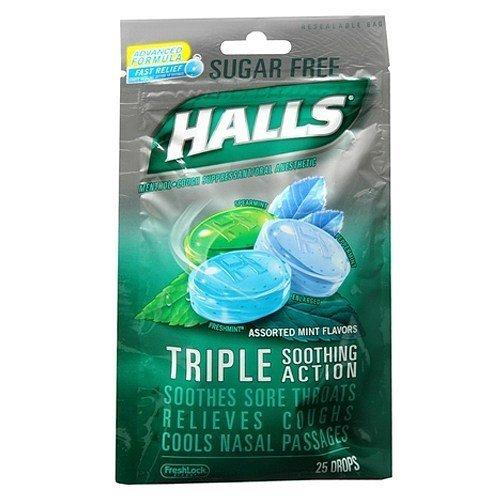 Halls Mentho-Lyptus Drops Sugar Free Assorted Mint 25 Each (Pack of 2) Halls Mentho Lyptus Cough Suppressant