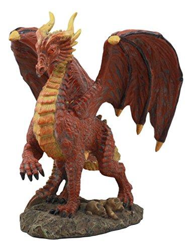 (Ebros Quetzalcoatl Bone Scavenger Red Muscle Dragon Statue 8