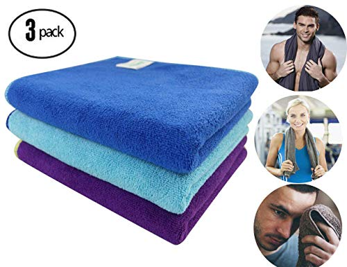 ForNeat Sports Towel Microfiber Towels Set, Multi-Purpose Gym Towel, Extra Absorbent, Fast Drying & Antibacterial, for Workout, Fitness, Gym, Yoga, Travel, Camping & More(Dark Blue+Light Blue+Purple)
