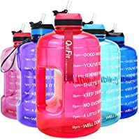 QuiFit Motivational Gallon Water Bottle - with Straw & Time Marker BPA Free Large Reusable Sport Water Jug with Handle...