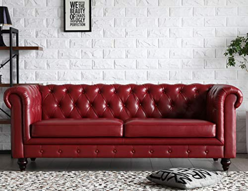 Victoria Chesterfield Leather Sofa,Tufted Classic Luxury Romance Set