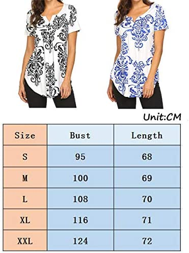 Defal Women Summer Short Sleeve V Neck Paisley Floral Print Blouses Shirts Casual Irregular Hem Flowy Lightweight Tunic Tops