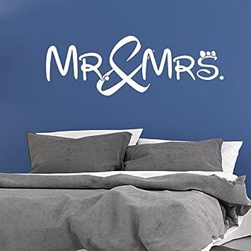 Mr. and Mrs. - Mister - Misses - Schlafzimmer - 54 cm x 153 cm - Wandtattoo  - Weiss
