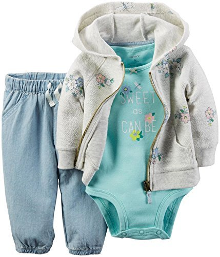 Carter's Baby Girls' Collection Cardigan Set Mint Sweet, Heather, New Born