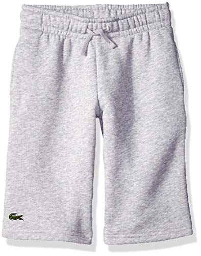 (Lacoste Boys' Big' Sport Tennis Cotton Fleece Shorts, Silver Chine, 8Y)