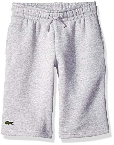 (Lacoste Boys' Big' Sport Tennis Cotton Fleece Shorts, Silver Chine, 12Y)