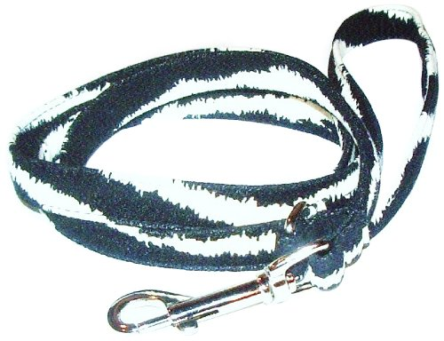 The Dog Squad Ultra Suede Pet Leash, 4-Feet, Zebra