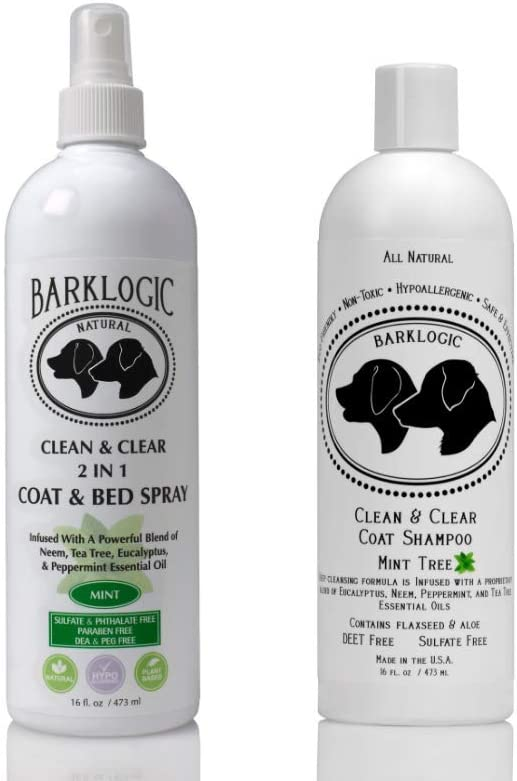 BarkLogic Clean & Clear Dog Grooming Kit - Sulfate Free Dog Shampoo and Puppy Safe Dog and Kennel Odor Control Spray