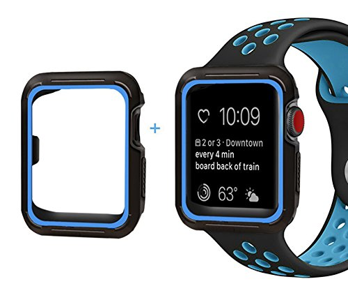 For Apple Watch Band with Case 42mm - Shock Proof and Shatter Resistant Protective Case with Silicone Sport iWatch Band for Men for Apple Watch Series 3/2/1 Nike+ Sport Edition 42mm Black/Blue