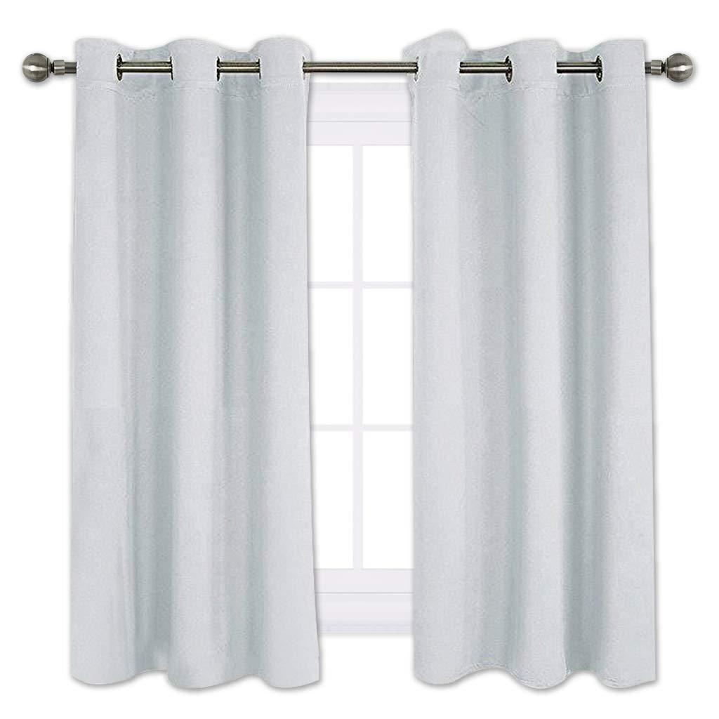 NICETOWN Room Darkening Draperies Curtains Panels, Window Treatment Thermal Insulated Grommet Room Darkening Curtains/Drapes for Bedroom (2 Panels,42 by 45,Platinum-Greyish White)