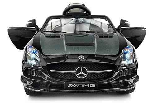 Carbon BLACK SLS AMG Mercedes Benz Car for Kids, 12V Powered Kids Ride On Car, Leather Seat, LED Lights, Parental Remote, Built-in LCD Touch Screen TV Dashboard, Stroller Seatbelt