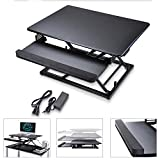 Koval Inc. Height Adjustable Electric Motorized Computer Sit-to-Stand Desk (Black)