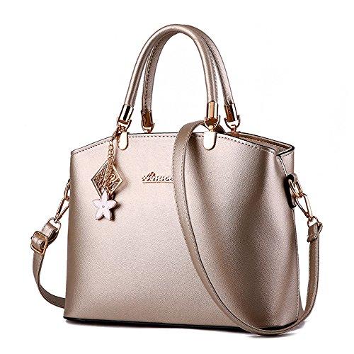 Wewod bolsos bandolera tela mujer/bolsa de hombro mujer de remache/bolso shopper moda 38 x 28 x 3 cm (L*H*W) Dorado