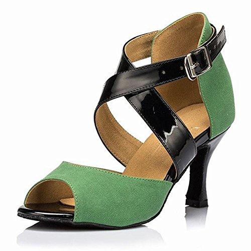 Scarpe Jazz BYLE da Caviglia Cinturino Sandali di Green Ballo Scarpe Scarpe Cuoio Estivo Ballo Latino Samba Cinghie Onecolor Ballo alla Moderno di Adulti da r0rUyqc
