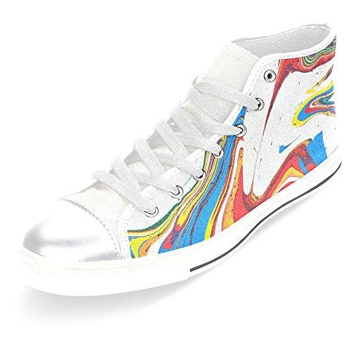 Rentprint Dames Canvas Schoenen Hoge Sneakers Sneakers Kant Sneakers Sneakers Modevorm Abstract Kleurrijk Regenboogwit