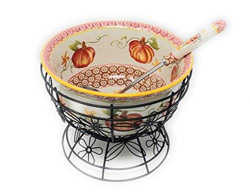 (Temp-tations 4.5 qt Bowl w/ Wire Stand & Ladle - Old World Pumpkin)