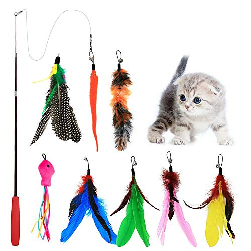 The creativehome Cat Wand Feather Toys Retractable Interactive Cat Tease Toys 8 Refills Feathers Birds Worms Fish Cats Kitten.