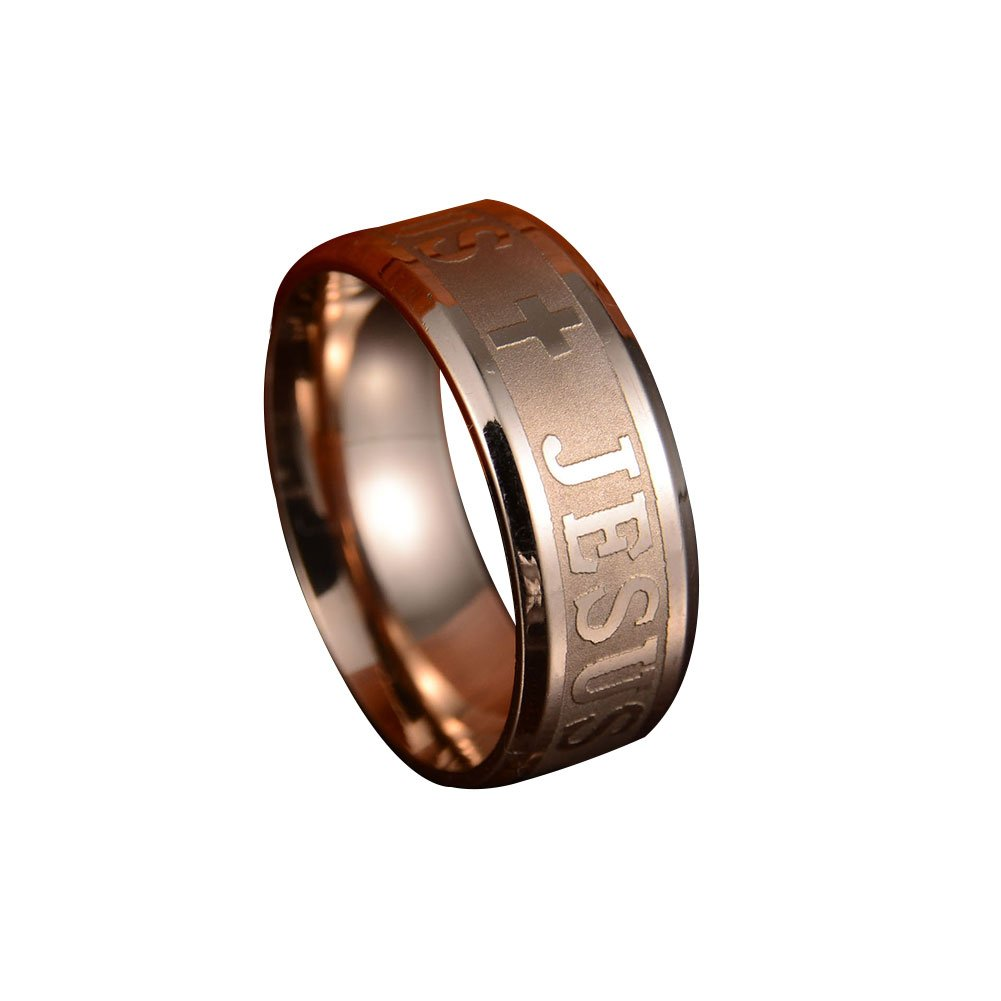 Acamifashion Cool Unisex Stainless Steel JES Cross Christianity Finger Ring Band Jewelry - Rose Gold 9