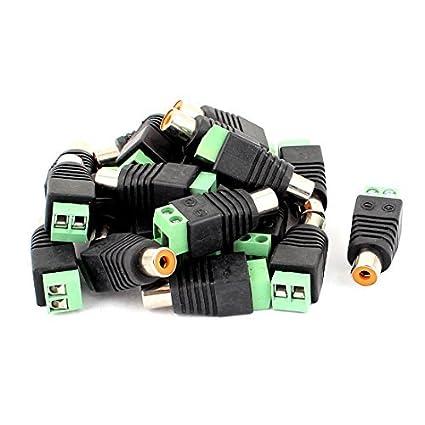 eDealMax 20 piezas Tornillo Terminal coaxial Cat5 Cat6 de Audio y vídeo RCA hembra Conector Jack