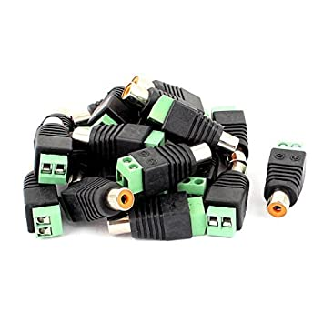 DealMux 20 Pcs Screw Terminal Coaxial Cat5 Cat6 para áudio e vídeo RCA Female Jack Connector