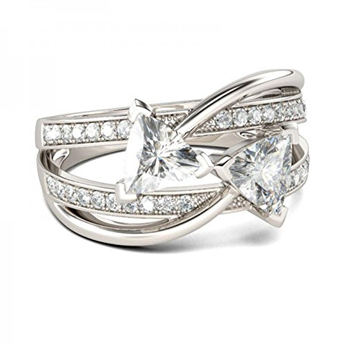 (tusakha 14k White Gold Plated Intertwined Two-Stone Trillion Cut Created White Sapphire Engagement Ring)