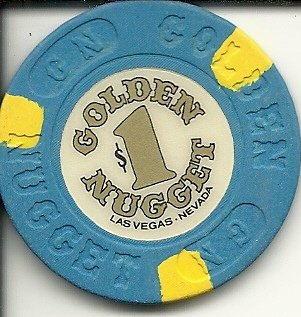 Golden Nugget Casino Chips ($1 golden nugget very vibrant blue las vegas casino chip)