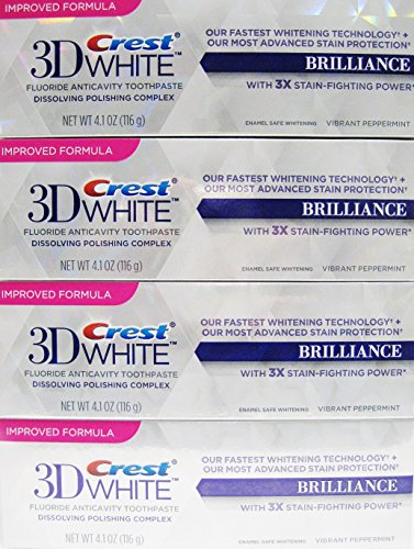Crest 3D White Brilliance,+ Advance Stain Protecrion ,Vibrant peppermint Flavor 4.1 Oz Each (pack of 4)