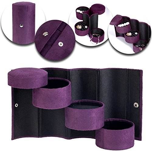 Classy Elegant Transportable Travel Roll Up Velvet jewelry Box / Case / Organizer / Holder With 3 Round Multi Tier Compartments In Purple Colors By VAGA