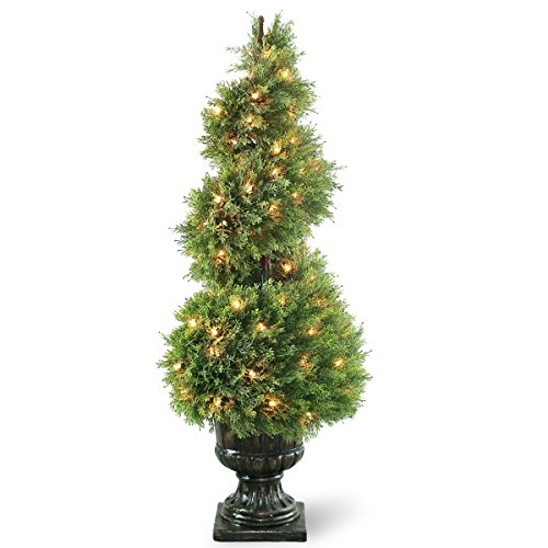 National Tree 48 Inch Upright Juniper Spiral Tree with 100 Clear Lights in Decorative Urn (LCYSP4-320-48) Juniper Spiral Topiary